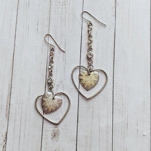❄️ Vintage Enamel Heart Dangle Earrings ❄️